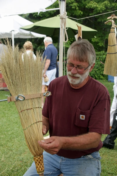 Tom Ruffin making a broom