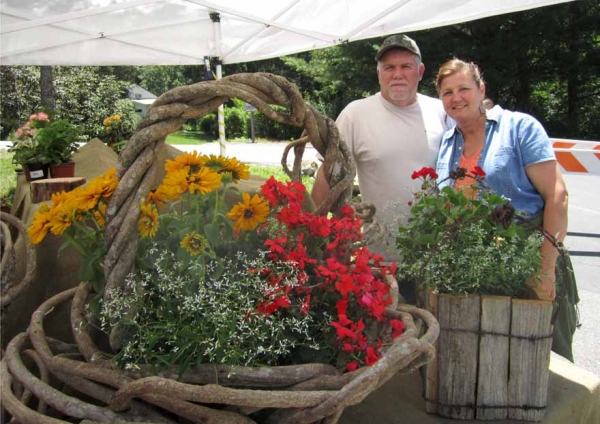 Michael and Joann Brown pipeline baskets and chestnut planters