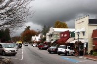 Main Street Highlands, NC in autumn