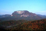 autumn view of Whiteside Mountain at dawn