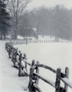 Old fence with snow in Horse Cove