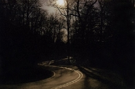 Winter :: night shot of Horse Cove Road switchback with full moon in winter